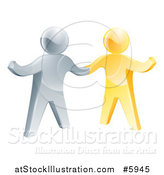 Vector Illustration of a Handshake Between 3d Gold and Silver Men, with One Guy Gesturing by AtStockIllustration