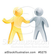 Vector Illustration of a Handshake Between 3d Gold and Silver Men, with One Guy Pointing by AtStockIllustration