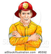 Vector Illustration of a Handsome Brunette Caucasian Fireman Avatar with Folded Arms by AtStockIllustration