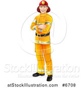 Vector Illustration of a Handsome Caucasian Male Fireman Standing with Folded Arms by AtStockIllustration