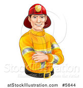 Vector Illustration of a Handsome Caucasian Male Fireman with Folded Arms by AtStockIllustration