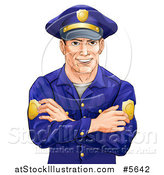 Vector Illustration of a Handsome Caucasian Male Police Officer with Folded Arms by AtStockIllustration