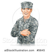 Vector Illustration of a Handsome Caucasian Male Soldier with Folded Arms by AtStockIllustration