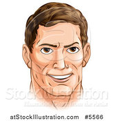 Vector Illustration of a Handsome Caucasian Man with Brunette Hair by AtStockIllustration