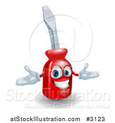 Vector Illustration of a Happy 3d Compact Screwdriver Character by AtStockIllustration