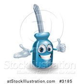 Vector Illustration of a Happy 3d Compact Screwdriver Character Holding a Thumb up by AtStockIllustration