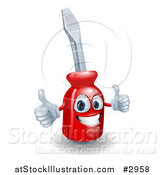 Vector Illustration of a Happy 3d Compact Screwdriver Character Holding Thumbs up by AtStockIllustration