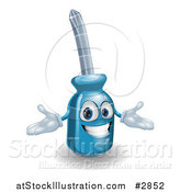 Vector Illustration of a Happy 3d Compact Screwdriver Character with Open Arms by AtStockIllustration