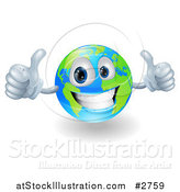 Vector Illustration of a Happy 3d Globe Holding Two Thumbs up by AtStockIllustration