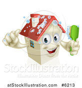 Vector Illustration of a Happy 3d House Character Giving a Thumb up and Cleaning Itself with a Brush by AtStockIllustration