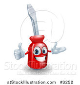 Vector Illustration of a Happy 3d Red Compact Screwdriver Character Holding a Thumb up by AtStockIllustration