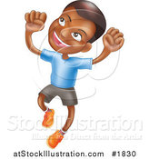 Vector Illustration of a Happy African American Boy Smiling and Jumping into the Air by AtStockIllustration