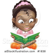 Vector Illustration of a Happy African American Girl Reading a Book and Sitting on the Floor by AtStockIllustration