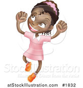 Vector Illustration of a Happy African American Girl Smiling and Jumping into the Air by AtStockIllustration