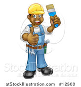 Vector Illustration of a Happy African American Male Painter Holding up a Brush and Giving a Thumb up by AtStockIllustration