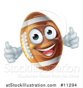 Vector Illustration of a Happy American Football Character Mascot Giving Two Thumbs up by AtStockIllustration