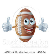 Vector Illustration of a Happy American Football Mascot Holding Two Thumbs up by AtStockIllustration