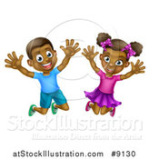 Vector Illustration of a Happy and Excited Black Boy and Girl Jumping by AtStockIllustration