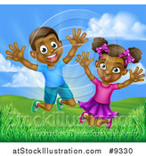 Vector Illustration of a Happy and Excited Black Boy and Girl Jumping Outdoors by AtStockIllustration