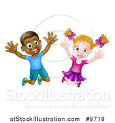 Vector Illustration of a Happy and Excited Black Boy and White Girl Jumping by AtStockIllustration