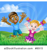 Vector Illustration of a Happy and Excited Black Boy and White Girl Jumping Outdoors by AtStockIllustration