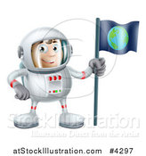 Vector Illustration of a Happy Astronaut Man with an Earth Flag by AtStockIllustration
