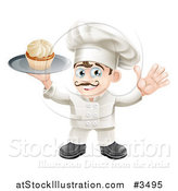 Vector Illustration of a Happy Baker Holding a Cupcake on a Platter by AtStockIllustration