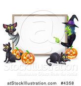 Vector Illustration of a Happy Bat Witch Pumpkins and Black Cats Around a Blank Sign by AtStockIllustration
