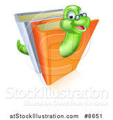 Vector Illustration of a Happy Bespectacled Green Earthworm Emerging from Books by AtStockIllustration