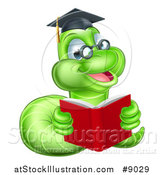 Vector Illustration of a Happy Bespectacled Green Professor or Graduate Earthworm Reading a Red Book by AtStockIllustration