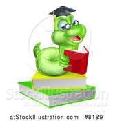 Vector Illustration of a Happy Bespectacled Green Professor or Graduate Earthworm Reading on Books by AtStockIllustration