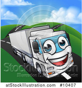 Vector Illustration of a Happy Big Rig Lorry Truck Mascot on a Country Road by AtStockIllustration