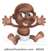 Vector Illustration of a Happy Black Baby Boy in a Diaper, Holding His Arms up by AtStockIllustration
