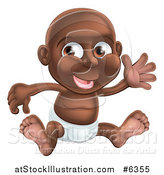 Vector Illustration of a Happy Black Baby Boy in a Diaper, Sitting and Waving by AtStockIllustration