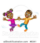 Vector Illustration of a Happy Black Boy and Girl Dancing by AtStockIllustration