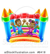 Vector Illustration of a Happy Black Boy and Girl Jumping on a Bouncy House Castle at a Party by AtStockIllustration