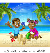 Vector Illustration of a Happy Black Boy and Girl Playing and Building a Sand Castle on a Tropical Beach by AtStockIllustration