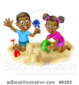 Vector Illustration of a Happy Black Boy and Girl Playing and Making Sand Castles on a Beach by AtStockIllustration