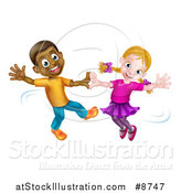 Vector Illustration of a Happy Black Boy and White Girl Dancing by AtStockIllustration