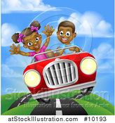 Vector Illustration of a Happy Black Boy Driving a Girl in a Red Convertible Car, on a Country Road by AtStockIllustration