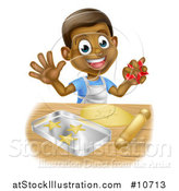 Vector Illustration of a Happy Black Boy Making Star Shaped Cookies by AtStockIllustration