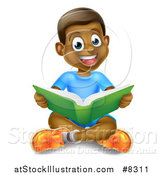 Vector Illustration of a Happy Black Boy Sitting on the Floor and Reading a Book by AtStockIllustration