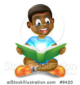 Vector Illustration of a Happy Black Boy Sitting on the Floor and Reading a Book, with Magical Lights by AtStockIllustration