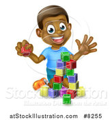 Vector Illustration of a Happy Black Boy Waving and Playing with Toy Blocks by AtStockIllustration