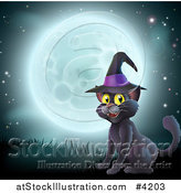 Vector Illustration of a Happy Black Cat Wearing a Witch Hat and Sitting Against a Full Moon by AtStockIllustration