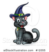 Vector Illustration of a Happy Black Cat Wearing a Witch Hat and Sitting by AtStockIllustration