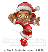 Vector Illustration of a Happy Black Female Christmas Elf Jumping or Dancing by AtStockIllustration