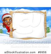 Vector Illustration of a Happy Black Female Christmas Elf Pointing Around a Blank Sign in a Winter Landscape by AtStockIllustration