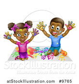Vector Illustration of a Happy Black Girl and Boy Kneeling and Finger Painting Artwork by AtStockIllustration