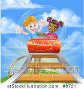 Vector Illustration of a Happy Black Girl and White Boy on a Roller Coaster Ride, Against a Blue Sky with Clouds by AtStockIllustration